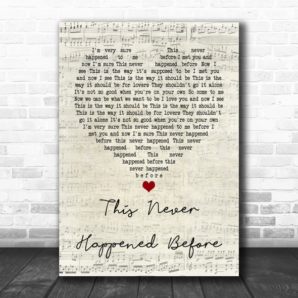 Paul McCartney This Never Happened Before Script Heart Song Lyric Quote Print