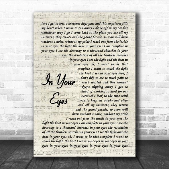 Peter Gabriel In Your Eyes Song Lyric Vintage Script Quote Print