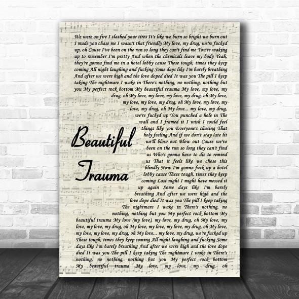 Pink Beautiful Trauma Song Lyric Vintage Script Quote Print