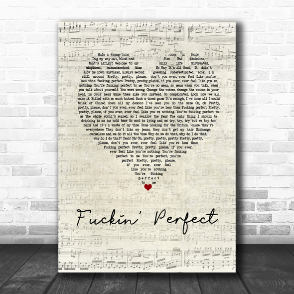 Pink Fuckin' Perfect Script Heart Song Lyric Quote Print