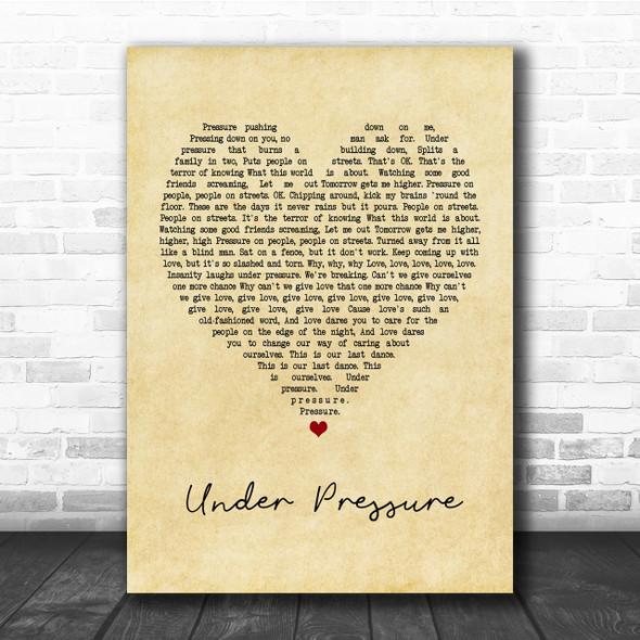 Queen & David Bowie Under Pressure Vintage Heart Quote Song Lyric Print