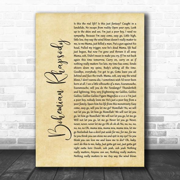 Queen Bohemian Rhapsody Rustic Script Song Lyric Quote Print