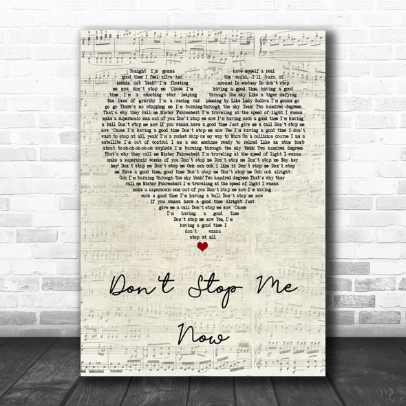 Queen Don't Stop Me Now Script Heart Song Lyric Quote Print