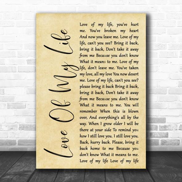 Queen Love Of My Life Rustic Script Song Lyric Quote Print