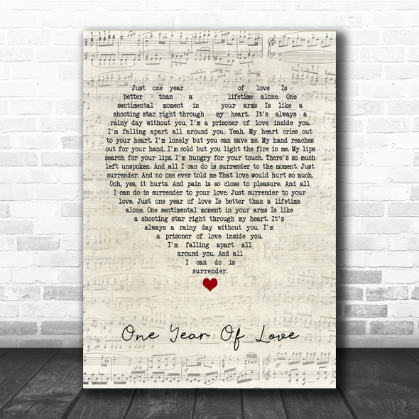 Queen One Year Of Love Script Heart Quote Song Lyric Print