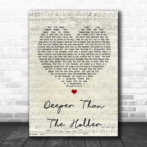 Randy Travis Deeper Than The Holler Script Heart Song Lyric Quote Print