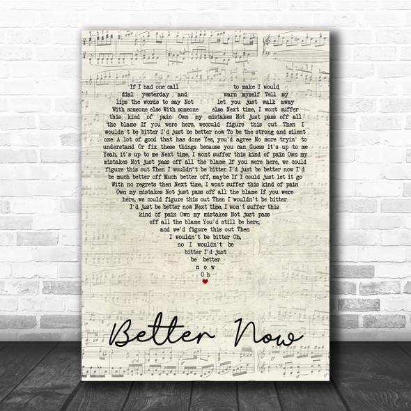 Rascal Flatts Better Now Script Heart Song Lyric Quote Print