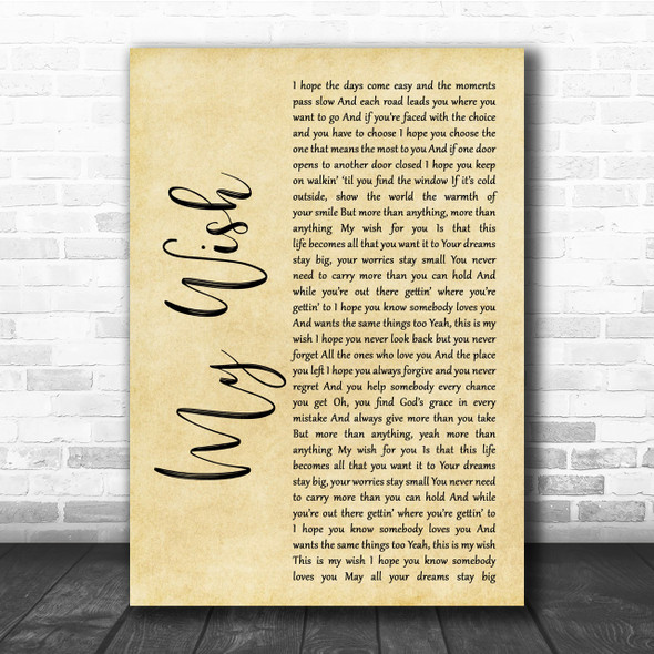 Rascal Flatts My Wish Rustic Script Song Lyric Quote Print