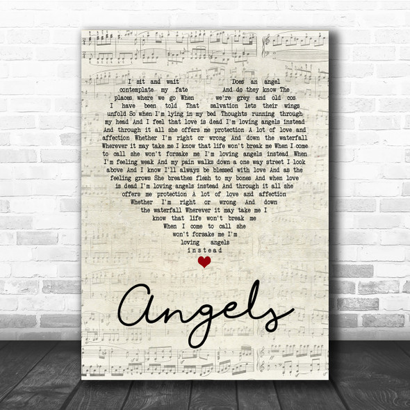 Robbie Williams Angels Script Heart Quote Song Lyric Print