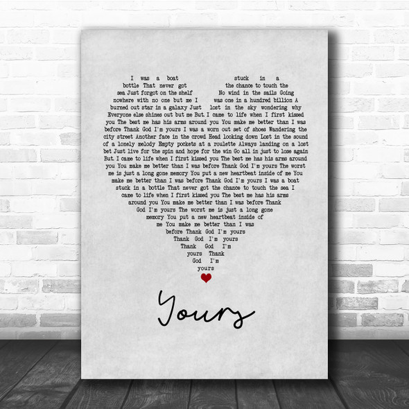 Russell Dickerson Yours Grey Heart Quote Song Lyric Print