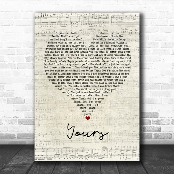 Russell Dickerson Yours Script Heart Quote Song Lyric Print