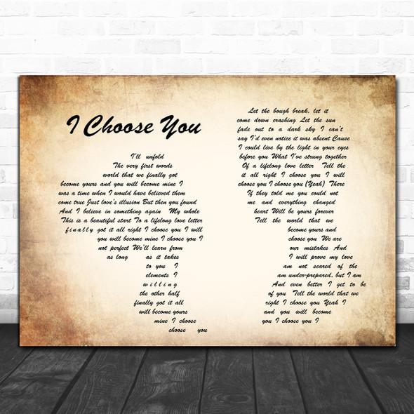 Sara Bareilles I Choose You Man Lady Couple Song Lyric Quote Print