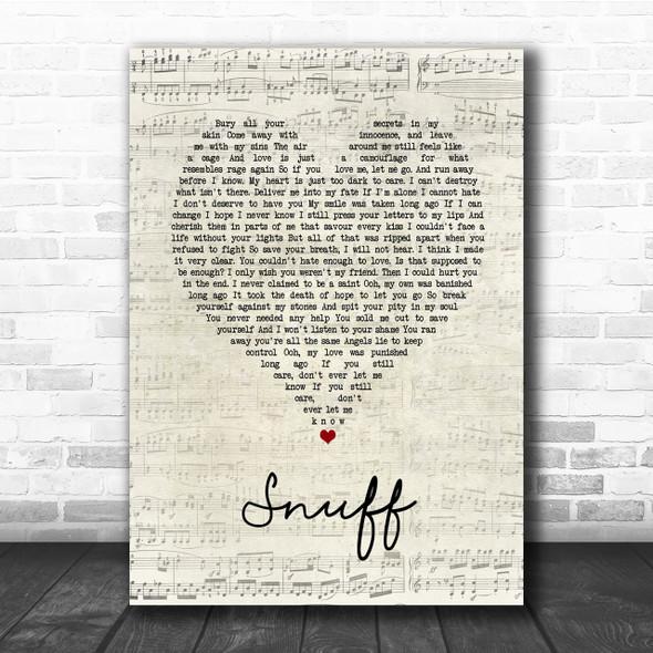 Slipknot Snuff Script Heart Song Lyric Quote Print