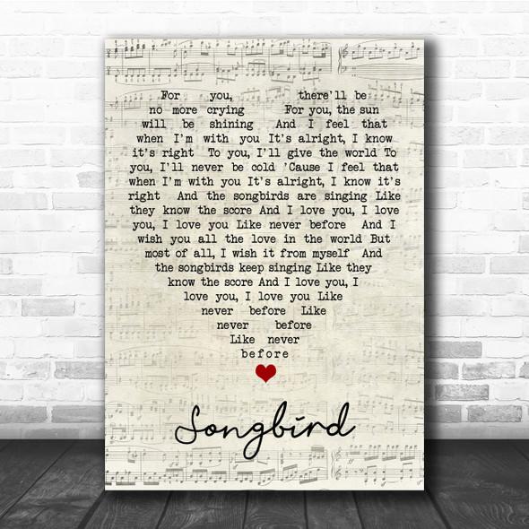 Songbird Fleetwood Mac Script Heart Quote Song Lyric Print
