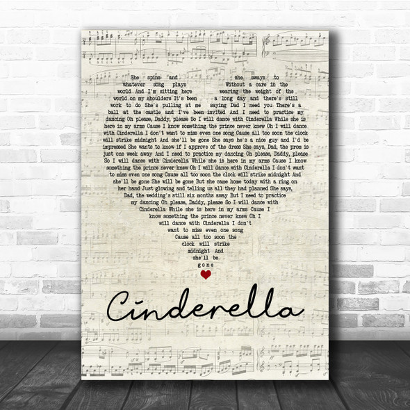 Steven Curtis Chapman Cinderella Script Heart Song Lyric Quote Print