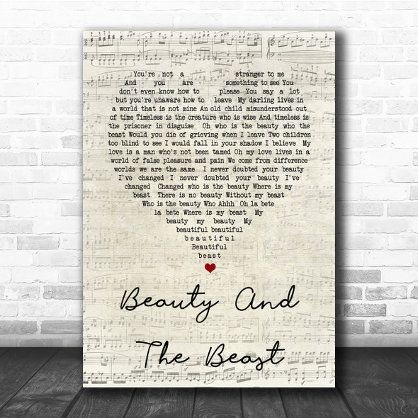 Stevie Nicks Beauty And The Beast Script Heart Song Lyric Quote Print