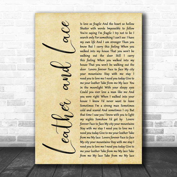 Stevie Nicks Leather And Lace Rustic Script Song Lyric Quote Print
