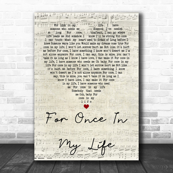 Stevie Wonder For Once In My Life Script Heart Song Lyric Quote Print