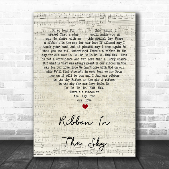 Stevie Wonder Ribbon In The Sky Script Heart Song Lyric Quote Print
