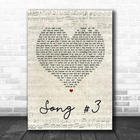 Stone Sour Song 3 Script Heart Song Lyric Quote Print