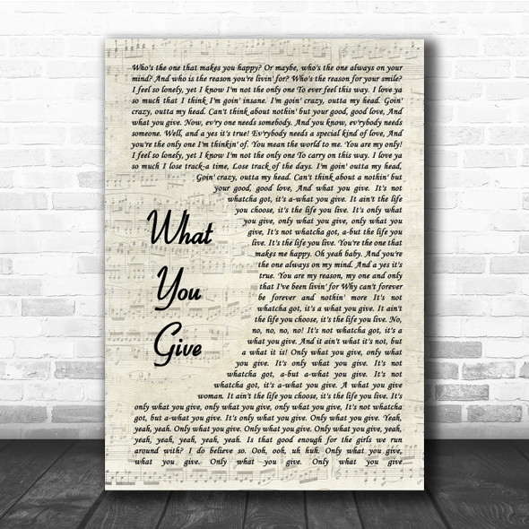 Tesla What You Give Song Lyric Vintage Script Quote Print