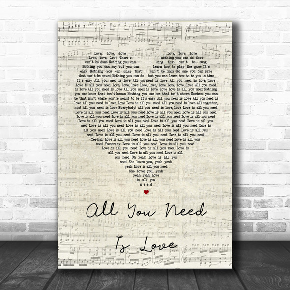 The Beatles All You Need Is Love Script Heart Song Lyric Quote Print