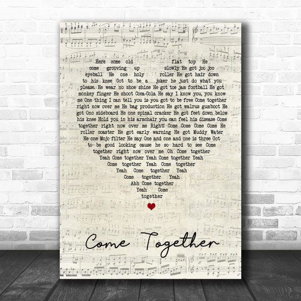 The Beatles Come Together Script Heart Song Lyric Quote Print
