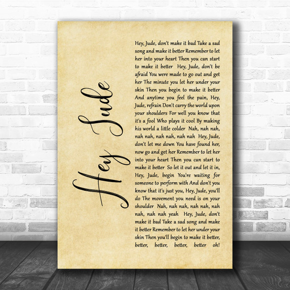 The Beatles Hey Jude Rustic Script Song Lyric Quote Print