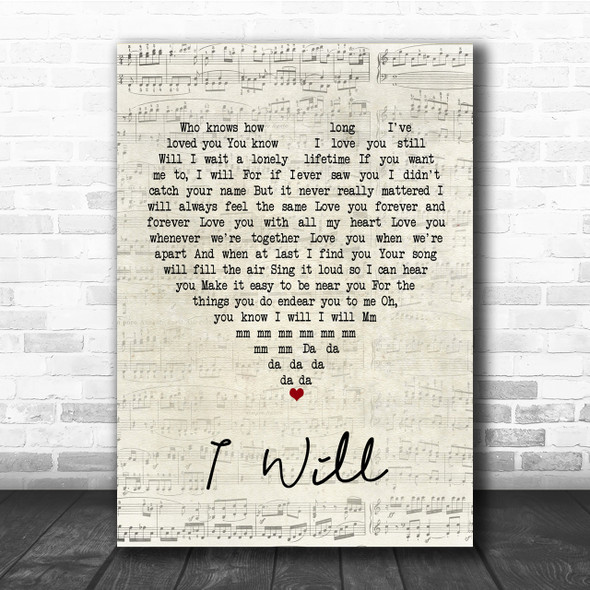 The Beatles I Will Script Heart Song Lyric Quote Print