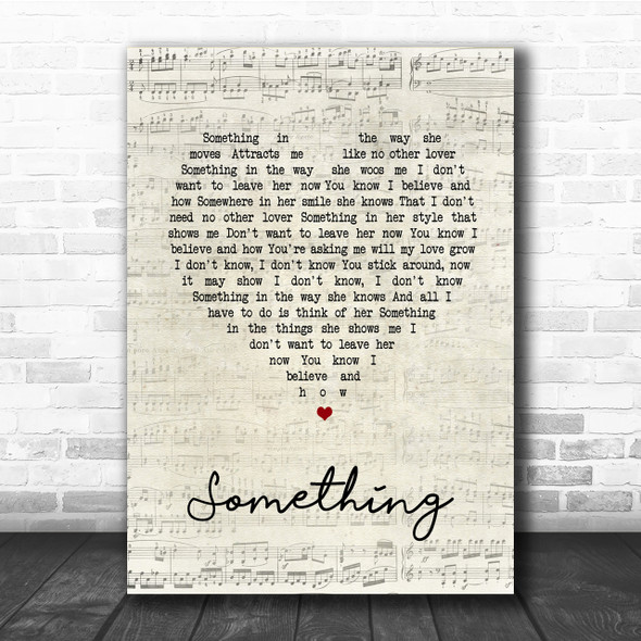 The Beatles Something Script Heart Song Lyric Quote Print