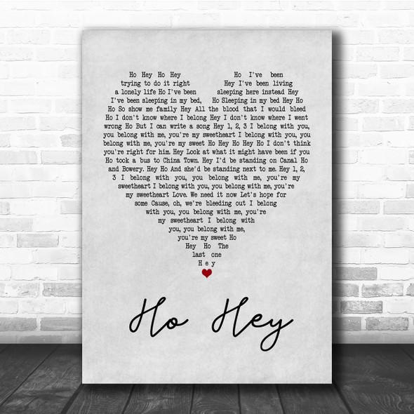 The Lumineers Ho Hey Grey Heart Quote Song Lyric Print