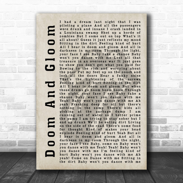 The Rolling Stones Doom And Gloom Shadow Song Lyric Quote Print