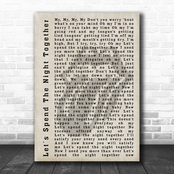 The Rolling Stones Let's Spend The Night Together Shadow Song Lyric Quote Print