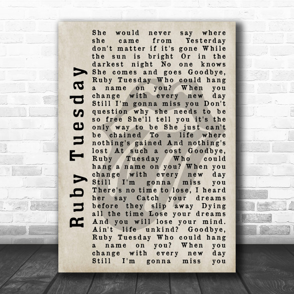 The Rolling Stones Ruby Tuesday Shadow Song Lyric Quote Print