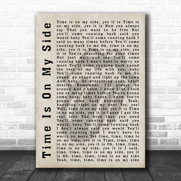 The Rolling Stones Time Is On My Side Shadow Song Lyric Quote Print