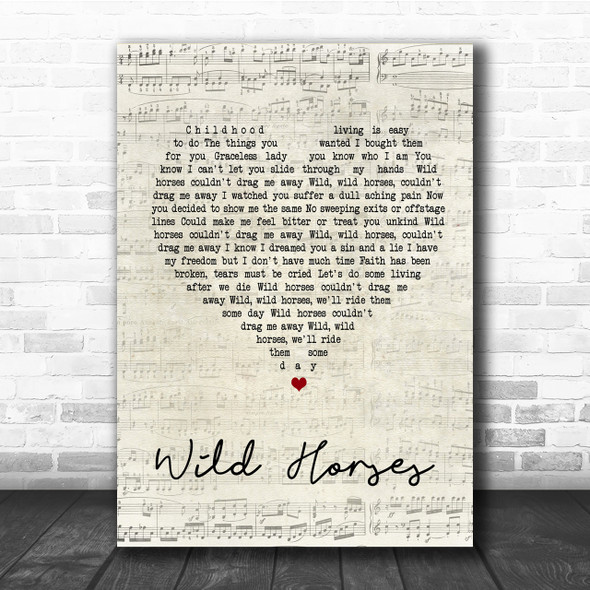 The Rolling Stones Wild Horses Script Heart Song Lyric Quote Print