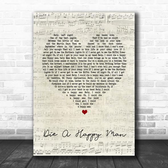 Thomas Rhett Die A Happy Man Script Heart Song Lyric Quote Print
