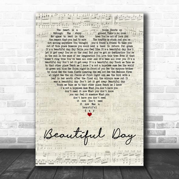 U2 Beautiful Day Script Heart Quote Song Lyric Print