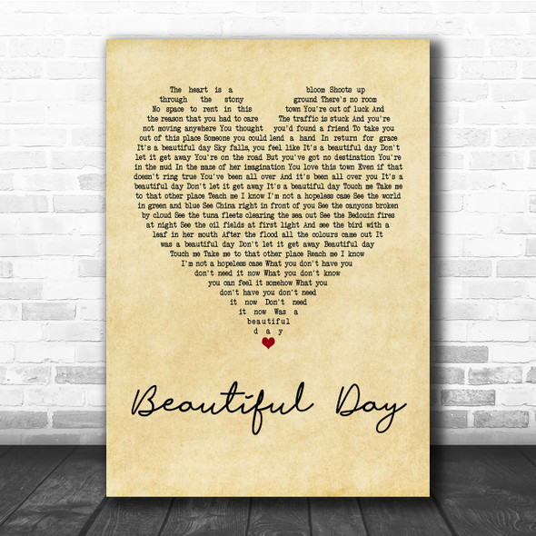 U2 Beautiful Day Vintage Heart Quote Song Lyric Print