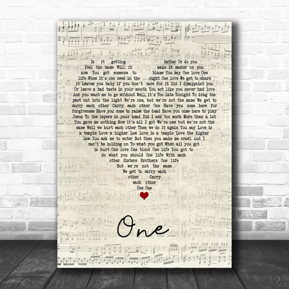 U2 One Script Heart Quote Song Lyric Print