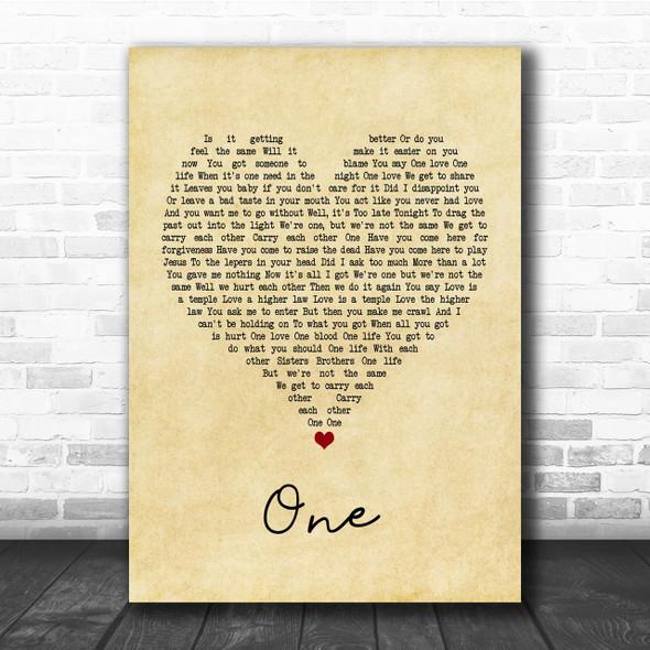 U2 One Vintage Heart Quote Song Lyric Print