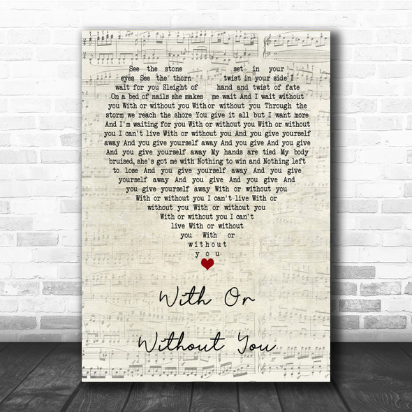 U2 With Or Without You Script Heart Song Lyric Quote Print
