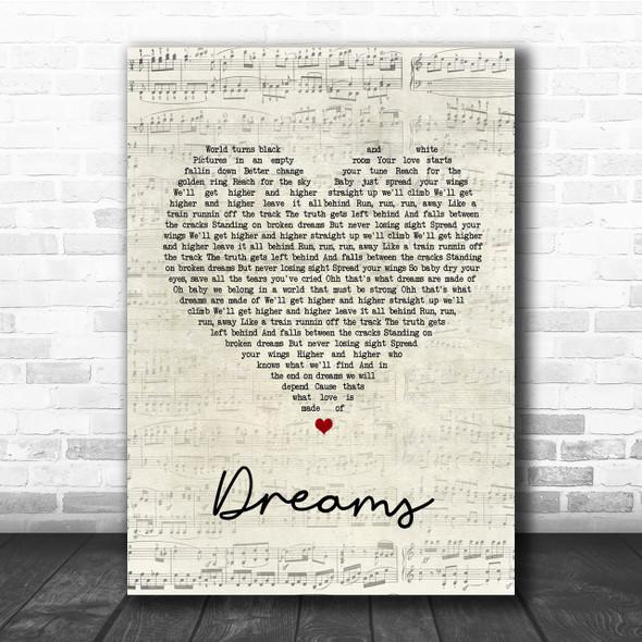 Van Halen Dreams Script Heart Song Lyric Quote Print