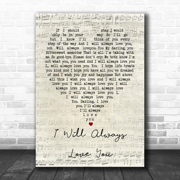 Whitney Houston I Will Always Love You Script Heart Song Lyric Quote Print