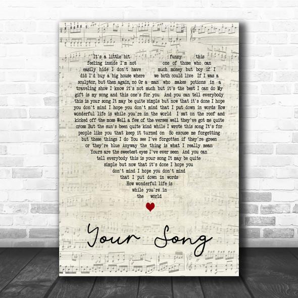 Your Song Elton John Script Heart Song Lyric Quote Print