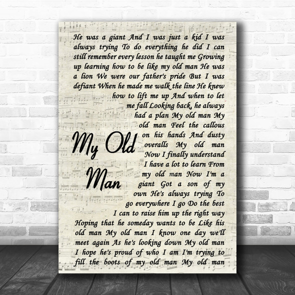 Zac Brown Band My Old Man Song Lyric Vintage Script Quote Print