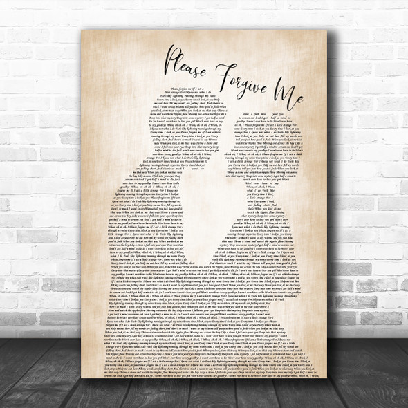 David Gray Please Forgive Me Man Lady Bride Groom Wedding Song Lyric Poster Print