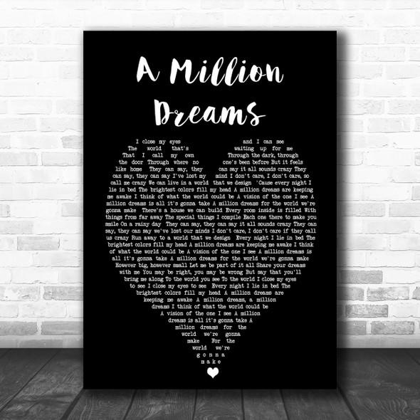 A Million Dreams The Greatest Showman Black Heart Song Lyric Music Wall Art Print