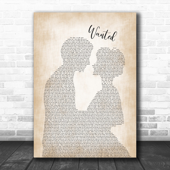 Hunter Hayes Wanted Man Lady Bride Groom Wedding Song Lyric Poster Print