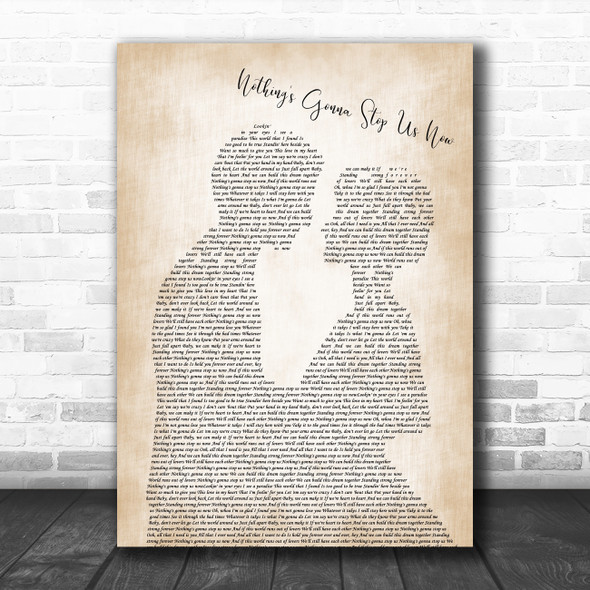 Jefferson Starship Nothing's Gonna Stop Us Now Man Lady Bride Groom Wedding Song Lyric Poster Print